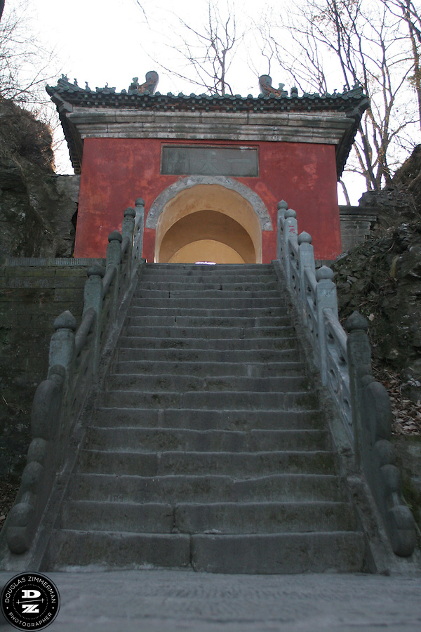 A small structure along the walkway to the top of WuDang Shan mountain in Hubei Provence in China.  Photograph by Douglas ZImmerman