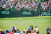 Brooks Koepka (USA) watches his putt on 6 during Sunday's round 4 of the 117th U.S. Open, at Erin Hills, Erin, Wisconsin. 6/18/2017.<br /> Picture: Golffile | Ken Murray<br /> <br /> <br /> All photo usage must carry mandatory copyright credit (&copy; Golffile | Ken Murray)