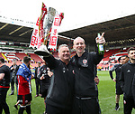 Sheffield United's Paul Mitchell and Alan Knill during the League One match at Bramall Lane, Sheffield. Picture date: April 30th, 2017. Pic David Klein/Sportimage