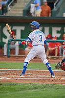 Ramon Rodriguez (3) of the Ogden Raptors bats against the Orem Owlz at Lindquist Field on August 4, 2018 in Ogden, Utah. The Owlz defeated the Raptors 15-12. (Stephen Smith/Four Seam Images)
