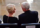 Vice President of the United States Mike Pence sits with Cindy McCain as the casket of former Senator John McCain in the Capitol Rotunda lies in state at the U.S. Capitol, in Washington, DC on Friday, August 31, 2018. McCain, an Arizona Republican, presidential candidate and war hero died August 25th at the age of 81. He is the 31st person to lie in state at the Capitol in 166 years.    Photo by Kevin Dietsch/UPI