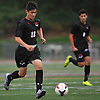 Ethan Koval #18 of Half Hollow Hills East races downfield during the first half of a Suffolk County League II varsity boys soccer game against host Whitman High School on Monday, Sept. 19, 2016. He scored a goal in the fourth minute of play. Hills East won by a score of 2-1.