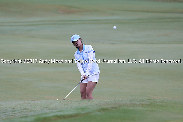 CHAPEL HILL, NC - OCTOBER 15: North Carolina's Cheni Xu (CHN) in the 18th fairway. The third and final round of the Ruth's Chris Tar Heel Invitational Women's Golf Tournament was held on October 15, 2017, at the UNC Finley Golf Course in Chapel Hill, NC.