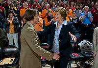 Stanford, Ca - Tuesday, Dec. 20, 2011: Tara VanDerveer  greets Pat Summit before the Stanford women's basketball 97-80 win over Tennessee at Maples Pavilion.