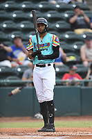Pedro Gonzalez (4) of Las Llamas de Hickory at bat during a game against Los Rapidos de Kannapolis at L.P. Frans Stadium on July 17, 2019 in Hickory, North Carolina. The Llamas defeated the Rapidos 7-5. (Tracy Proffitt/Four Seam Images)