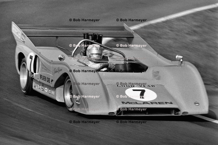 LEXINGTON, OH - AUGUST 22: Peter Revson drives his McLaren M8F 1/Chevrolet during the SCCA Can-Am race at the Mid-Ohio Sports Car Course near Lexington, Ohio, on August 22, 1971.
