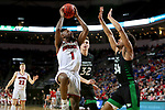 SIOUX FALLS, SD - MARCH 8: Ty Chisom #1 of the South Dakota Coyotes goes up for a layup against Ty Chisom #1 of the South Dakota Coyotes at the 2020 Summit League Basketball Championship in Sioux Falls, SD. (Photo by Dave Eggen/Inertia)