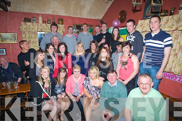 BIRTHDAY: Siobhan Fitzgerald, Kilmoyley (seated 3rd from right) with her family and friends as she celebrated her 21st birthday in Tochar Ba?n, Kilmoyley on Saturday night................. . ............................... ..........