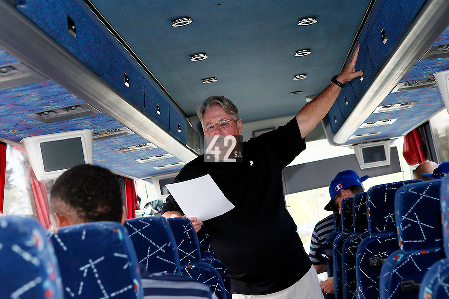 20 September 2012: Team France manager Jim Stoeckel talks to his players in the bus prior to Spain 8-0 win over France, at the 2012 World Baseball Classic Qualifier round, in Jupiter, Florida, USA.