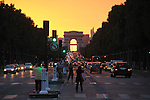 Arc de Triomphe sunset, Paris, France, Europe.