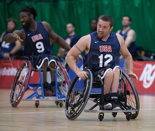 03.07.2016. Leicester Sports Arena, Leicester, England. Continental Clash Wheelchair Basketball, USA versus Japan.  John Gilbert (USA) races down to the other end of the court