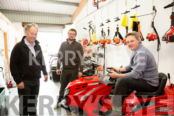 Tom & Paudie Kelliher with customer John Coyle at there new Showroom & Repair Centre at Reenrusheen, Cahersiveen.