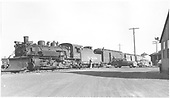 #483 K-36 with RPO, Baggage car and two coaches at Antonito.<br /> D&amp;RGW  Antonito, CO  Taken by Richardson, Robert W. - 3/25/1950