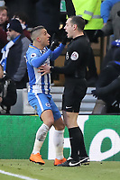 Anthony Knockaert of Brighton (L) protests to the assistant referee for disallowing his goal during the Premier League match between Brighton and Hove Albion and Swansea City and at the Amex Stadium, Brighton, England, UK. Saturday 24 February 2018