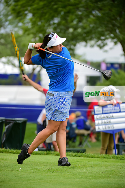 Jane Park (USA) watches her tee shot on 18 during Thursday's round 1 of the 2017 KPMG Women's PGA Championship, at Olympia Fields Country Club, Olympia Fields, Illinois. 6/29/2017.<br /> Picture: Golffile | Ken Murray<br /> <br /> <br /> All photo usage must carry mandatory copyright credit (&copy; Golffile | Ken Murray)