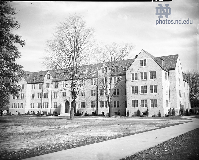 GPHR 45/0020:  Farley Hall exterior, c1950s..Image from the University of Notre Dame Archives.