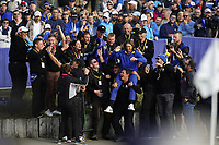 Tommy Fleetwood (Team Europe) celebrating with he ground staff after the singles matches at the Ryder Cup, Le Golf National, Ile-de-France, France. 30/09/2018.<br /> Picture Fran Caffrey / Golffile.ie<br /> <br /> All photo usage must carry mandatory copyright credit (© Golffile | Fran Caffrey)