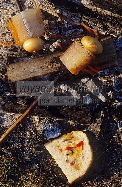"""Europe/Hongrie/Tokay/Env Sarospatak: Les vignes du château Megyer - Préparation de """"la Salona"""": lard fumé, oignon, paprika frais et pain"""