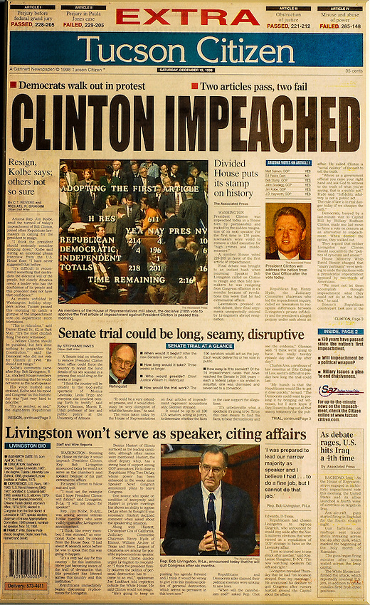 This is the Tucson Citizen front page for December 19, 1998, when President Bill Clinton was impeached.