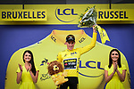 Mike Theunison (BEL) Team Jumbo-Visma wins Stage 1 and wears the first leaders Yellow Jersey of the 2019 Tour de France running 194.5km from Brussels to Brussels, Belgium. 6th July 2019.<br /> Picture: ASO/Alex Broadway | Cyclefile<br /> All photos usage must carry mandatory copyright credit (© Cyclefile | ASO/Alex Broadway)