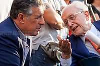 Judge Nino Di Matteo &amp; Judge Ferdinando Imposimato.<br /> <br /> Palermo (Sicily - Italy), 19/07/2017. &quot;Basta depistaggi e omert&agrave; di Stato!&quot; (&quot;Stop disinformation &amp; omert&aacute; by the State!&quot;)(1). Public event to commemorate the 25th Anniversary of the assassination of the anti-mafia Magistrate Paolo Borsellino along with five of his police &ldquo;scorta&rdquo; (Escorts from the special branch of the Italian police force who protect Judges): Agostino Catalano, Emanuela Loi (The first Italian female member of the police special branch and the first woman of this branch to be killed on duty), Vincenzo Li Muli, Walter Eddie Cosina and Claudio Traina. The event was held at Via D'Amelio, the road where Borsellino was killed. Family members of mafia victims, amongst others, made speeches about their dramatic experiences, mafia violence and unpunished crimes, State cover-ups, silence ('omert&aacute;'), and misinformation. Speakers included, amongst others, Vincenzo Agostino &amp; Augusta Schiera, Salvatore &amp; Cristina Catalano, Graziella Accetta, Massimo Sole, Paola Caccia, Luciano Traina, Angela Manca, Stefano Mormile, Ferdinando Imposimato, Judge Nino Di Matteo. The event ended with the screening of the RAI docu-fiction, 'Adesso Tocca A Me' ('Now it's My Turn' - Watch it here: http://bit.ly/2w3WJUX ).<br /> <br /> For more info &amp; a video of the event please click here: http://bit.ly/2eQfNT3 &amp; http://bit.ly/2eQbmrj &amp; http://19luglio1992.com &amp; http://bit.ly/2he8hCj<br /> <br /> (1) 'Omerta' is the term used in Italy to refer to the code of silence used by mafia organisations, as well as the culture of silence that is entrenched in society at large (especially among victims of mafia crimes, as they fear recriminations), about the existence of organised crime and its activities.