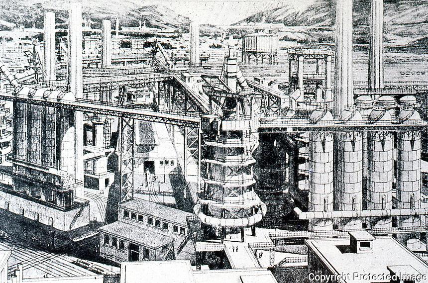 Tony Garnier:  Furnaces, Cite Industrielle, 1917.