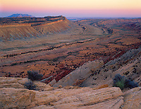 Capitol Reef National Park, UT<br /> Evening light on the Water Pocket Fold, a hundred mile monocline, from the Strike Valley Overlook