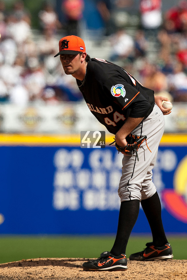 7 March 2009: #44 Leon Boyd of The Netherlands pitches against the Dominican Republic during the 2009 World Baseball Classic Pool D match at Hiram Bithorn Stadium in San Juan, Puerto Rico. Netherlands pulled off a huge upset in their World Baseball Classic opener with a 3-2 victory over Dominican Republic.