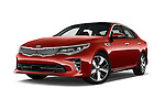 Stock pictures of low aggressive front three quarter view of 2018 KIA Optima SX 4 Door Sedan Low Aggressive