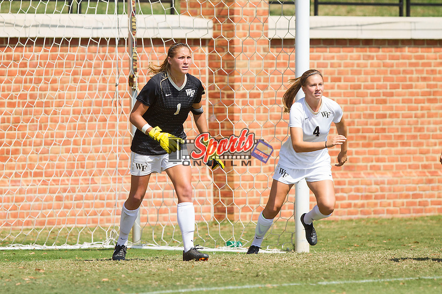Aubrey Bledsoe (1) and Megan Curan (4) of the Wake Forest Demon Deacons protect their goal during first half action against the Miami Hurricanes at Spry Soccer Stadium on September 15, 2013 in Winston-Salem, North Carolina.  The Deacons defeated the Hurricanes 4-0.   (Brian Westerholt/Sports On Film)