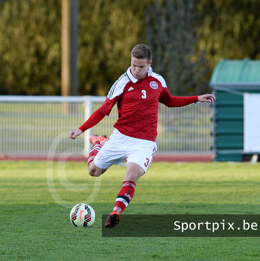 20150326 - BAYEUX , FRANCE  : Danish Stefan Gartenmann pictured during the soccer match between Under 19 teams of England and Denmark , on the first matchday in group 7 of the UEFA Elite Round Under 19 at stade Henry Jeanne , Bayeux France . Thursday 26 rd  March 2015 . PHOTO DAVID CATRY