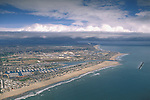 Aerial over the Ventura coast above the Channel Islands Harbor, California