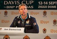 September 02, 2014,Netherlands, Amsterdam, Ziggo Dome, Press Conference Davis Cup, Jan Siemerink<br /> Photo: Tennisimages/Henk Koster