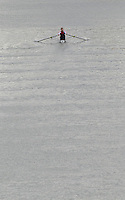 "Seville. SPAIN, 17.02.2007, CZE M1X, moves away from ""Puente de la Alamillo""; bridge; training on the River Guadalquiver Rowing and Canoeing; course [Photo Peter Spurrier/Intersport Images].   [Mandatory Credit, Peter Spurier/ Intersport Images]. , Rowing Course: Rio Guadalquiver Rowing Course, Seville, SPAIN,"