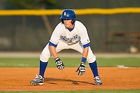 Alex McClure #2 of the Burlington Royals takes his lead off of first base against the Greeneville Astros at Burlington Athletic Stadium June22, 2010, in Burlington, North Carolina.  Photo by Brian Westerholt / Four Seam Images