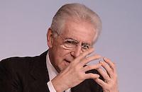 Roma, 30 Novembre 2012.Palazzo Chigi..Il Presidente del Consiglio Mario Monti durante la conferenza stampa dopo il Consiglio dei Ministri sull'Ilva di Taranto.