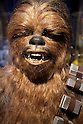 A Chewbacca's bust on display during the exhibition Star Wars Vision at the Tokyo City View Sky Gallery in Roppongi Hills on April 28, 2015, Tokyo, Japan. The exhibition is divided into six themed areas (Original, Force, Battle, Saga, Galaxy and Droid) located in different halls, and visitors can see models of the battle spaceships, life-size statues of the principal characters and Jedi weapons from the movies. The exhibition also introduces 60 art pieces and 100 movie props. It will open to the public from April 29th to June 28th. (Photo by Lucasfilm/Rodrigo Reyes Marin/AFLO)