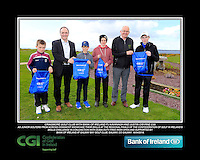 Craigmore Park Golf Club Boys with PJ Kavanagh from Bank of Ireland and Justin O'Byrne from CGI.<br /> Junior golfers from across connacht practicing their skills at the regional finals of the Dubai Duty Free Irish Open Skills Challenge supported by Bank of Ireland at Galway Bay golf club, Galway, Co Galway. 2/04/2016.<br /> Picture: Golffile | Fran Caffrey<br /> <br /> <br /> All photo usage must carry mandatory copyright credit (© Golffile | Fran Caffrey)