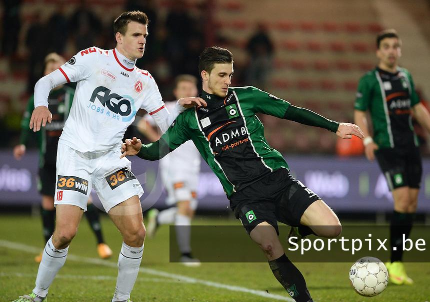 KV Kortrijk - Cercle Brugge : Pierre Bourdin (r) aan de bal voor Ivan Santini (links) <br /> foto VDB / BART VANDENBROUCKE