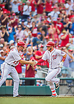 15 June 2016: Washington Nationals shortstop Stephen Drew gets congratulated by third base coach Bob Henley as he rounds the bases after pinch hitting an 8th inning solo home run against the Chicago Cubs at Nationals Park in Washington, DC. The Nationals defeated the Cubs 5-4 in 12 innings to take the rubber match of their 3-game series. Mandatory Credit: Ed Wolfstein Photo *** RAW (NEF) Image File Available ***