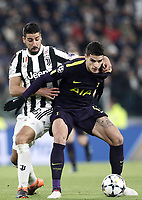 Football Soccer: UEFA Champions League Juventus vs Tottenahm Hotspurs FC Round of 16 1st leg, Allianz Stadium. Turin, Italy, February 13, 2018. <br /> Tottenham's Erik Lamela (r) in action with Juventus' Sami Khedira (l) during the Uefa Champions League football soccer match between Juventus and Tottenahm Hotspurs FC at Allianz Stadium in Turin, February 13, 2018.<br /> UPDATE IMAGES PRESS/Isabella Bonotto
