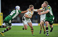Thomas Young of Wasps takes on the London Irish defence. Aviva Premiership match, between London Irish and Wasps on November 28, 2015 at Twickenham Stadium in London, England. Photo by: Patrick Khachfe / JMP