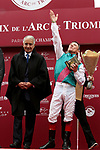 October 07, 2018, Longchamp, FRANCE - Frankie Dettori, John Gosden and others at winners celebration for the Qatar Prix de l'Arc de Triomphe (Gr. I) at  ParisLongchamp Race Course  [Copyright (c) Sandra Scherning/Eclipse Sportswire)]