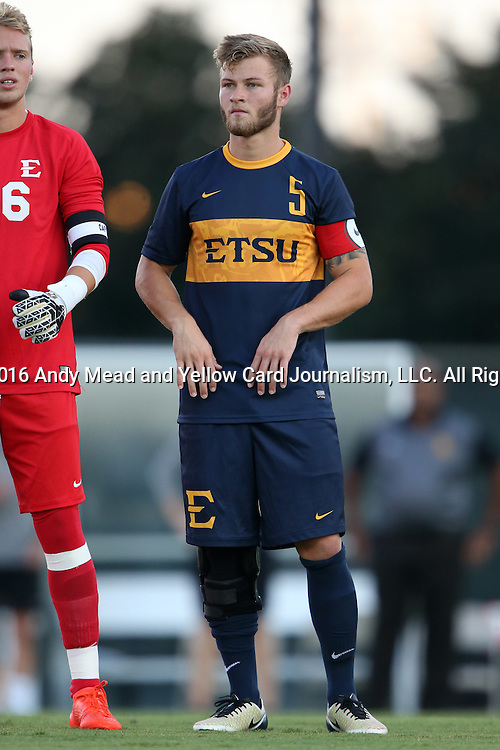 13 September 2016: ETSU's Jeffrey George. The University of North Carolina Tar Heels hosted the East Tennessee State University Buccaneers at Fetzer Field in Chapel Hill, North Carolina in a 2016 NCAA Division I Men's Soccer match. ETSU won the game 1-0 in sudden death overtime.