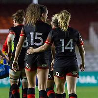 Ellie Kildunne and Danielle Waterman after Nolli's try, England Women v Canada in an Autumn International match at The Stoop, Twickenham, London, England, on 21st November 2017 Final score 49-12
