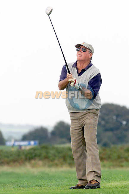 Frank Pentony teeing off at the Golf Foundation Foursomes at Co. Louth Golf Club in Baltray..Picture Paul Mohan Newsfile