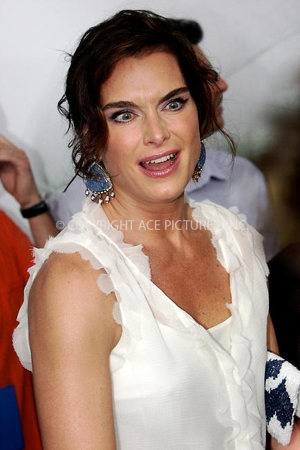 WWW.ACEPIXS.COM . . . . .  ....July 24 2011, New York City....Brooke Shields arriving at the premiere of 'The Smurfs' at the Ziegfeld Theater on July 24, 2011 in New York City. ....Please byline: NANCY RIVERA- ACEPIXS.COM.... *** ***..Ace Pictures, Inc:  ..Tel: 646 769 0430..e-mail: info@acepixs.com..web: http://www.acepixs.com