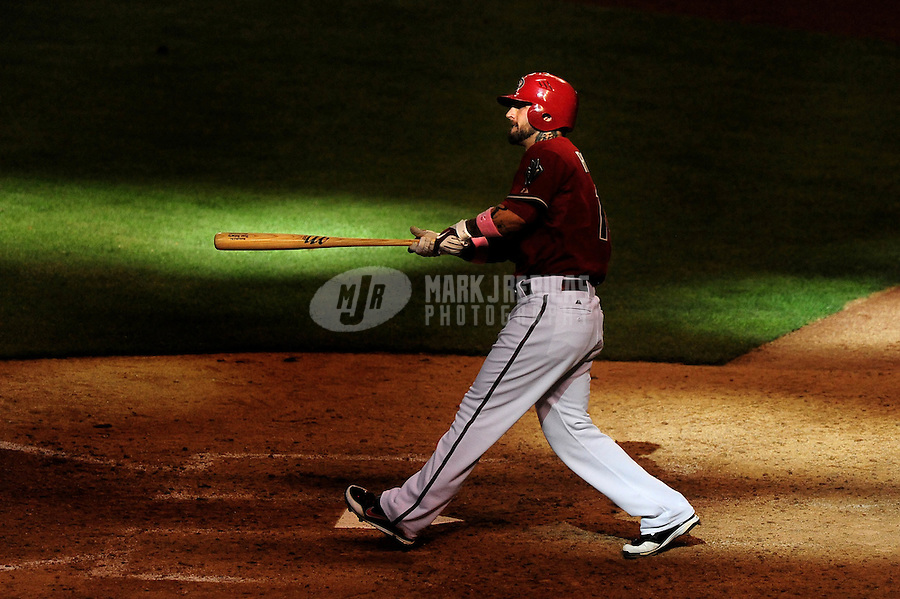 May 10, 2009; Phoenix, AZ, USA; Arizona Diamondbacks batter Ryan Roberts in the eighth inning against the Washington Nationals at Chase Field. Mandatory Credit: Mark J. Rebilas-