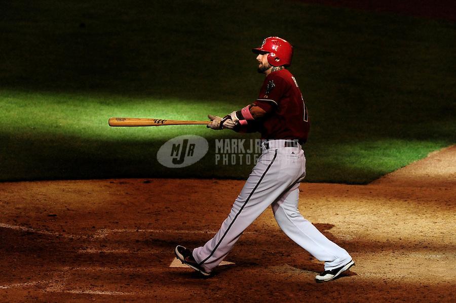 May 10, 2009; Phoenix, AZ, USA; Arizona Diamondbacks batter Ryan Roberts in the eighth inning against the Washington Nationals at Chase Field. Mandatory Credit: Mark J. Rebilas-