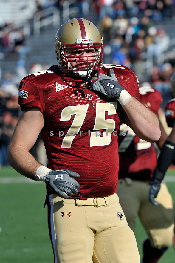 Nov 20, 2010; Boston College OL Nathan Richman (75) during  game against Virgina.Boston College won 17-13 at Alumni Stadium Chestnut Hill, MA. Mandatory Credit: Tomasso DeRosa